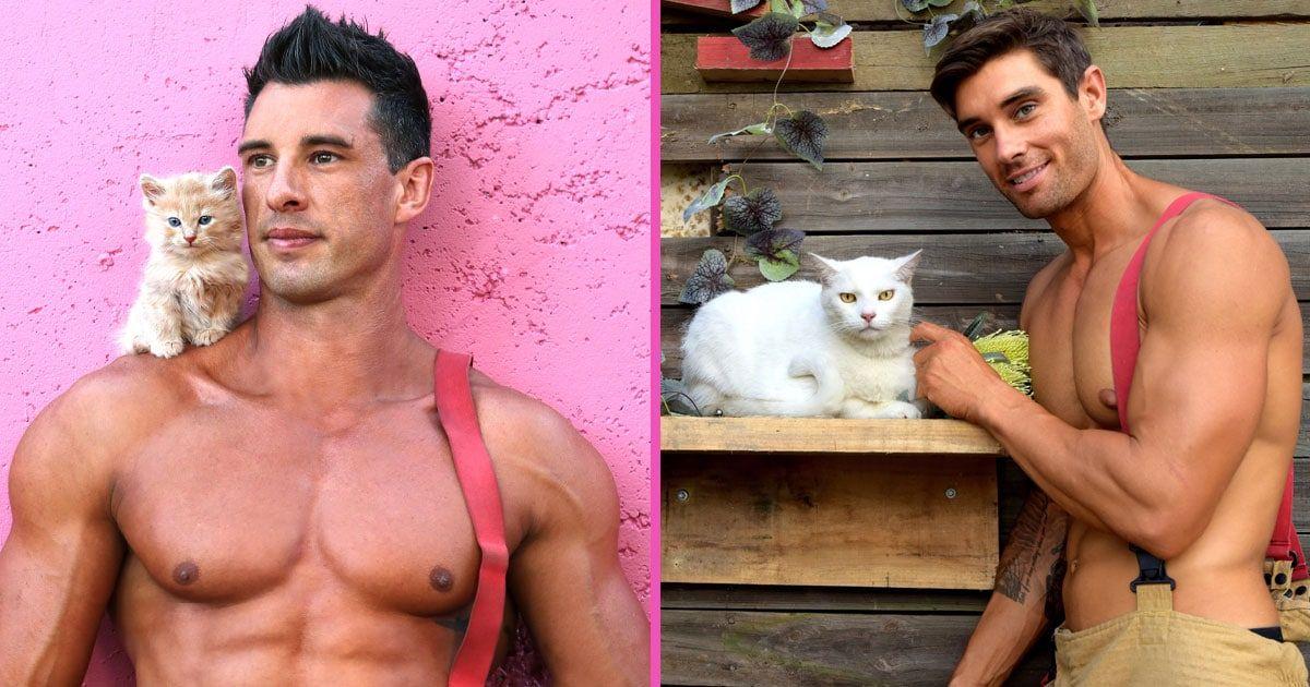 Продава се календарът на австралийските пожарникари с котки